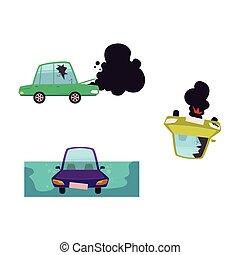 vector flat cartoon broken, drowned car set