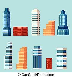 vector flat cartoon building, skyscrapers set