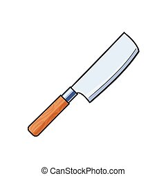 vector flat cartoon butcher cleaver knife isolated