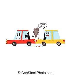 vector flat cartoon car accident isolated
