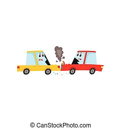 vector flat cartoon car accident isolated