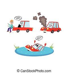 vector flat cartoon car accident set isolated - vector flat...