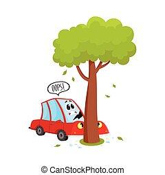 vector flat cartoon car crashed into tree accident