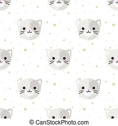 Vector flat cartoon cat heads seamless pattern. Animal background.