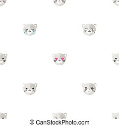 Vector flat cartoon cat heads with different emotions seamless pattern. Animal emoticons background.
