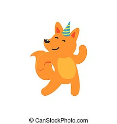 vector flat cartoon cheerful fox character dancing