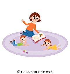 vector flat cartoon children sitting around woman