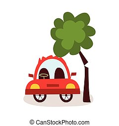Car accident, pedestrian knockdown, broken tree  Car accident set