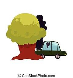 vector flat cartoon crashed into tree car accident