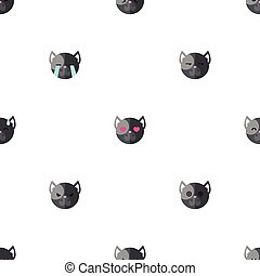 Vector flat cartoon dog heads with different emotions seamless pattern. Animal emoticons background.