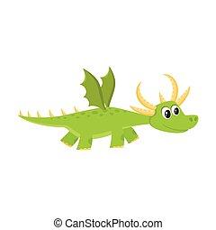 vector flat cartoon dragon kid with horns, wings.