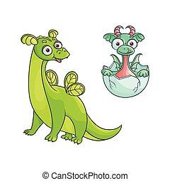 vector flat cartoon dragon with horns, wings set