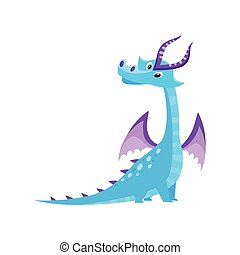 vector flat cartoon dragon with horns, wings.