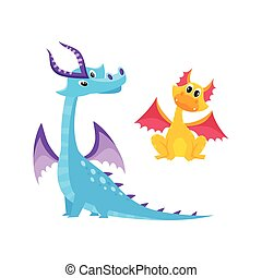 vector flat cartoon dragons set with horns, wings.