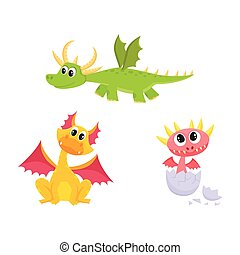 vector flat cartoon dragons with horns, wings set