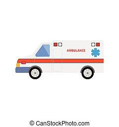 vector flat cartoon emergency ambulance car