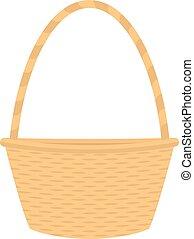 Vector flat cartoon empty straw wicker basket
