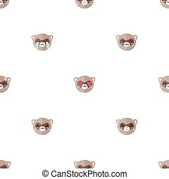 Vector flat cartoon ferret heads with different emotions seamless pattern. Animal emoticons background.