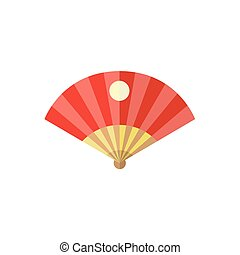 vector flat cartoon folding japanese fan