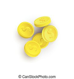 vector flat cartoon golden casino chips isolated