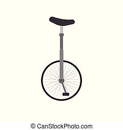 Vector flat cartoon gray one wheel bicycle on white background