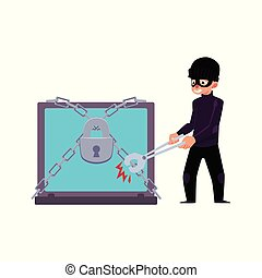 vector flat cartoon hacher data attack concept