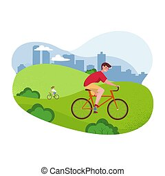 Vector flat cartoon illustration - bicycle riding man. Park, trees and hills on background for Banner, site, poster design. Healthy Lifestyle Template. Active Characters Guys on Bicycle in the Park