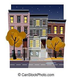Vector flat cartoon illustration of the historic urban area. City street landscape at night.