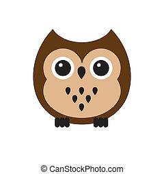 Vector flat cartoon kawaii brown owl