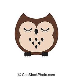 Vector flat cartoon kawaii brown sleeping owl
