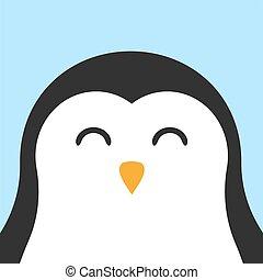 Vector flat cartoon kawaii penguin face