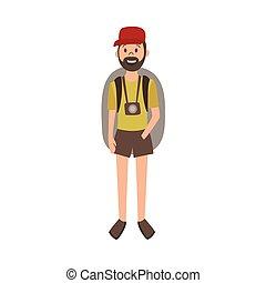 vector flat cartoon man hiker tourist
