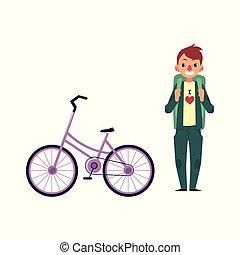 vector flat cartoon man tourist smiling, bicycle