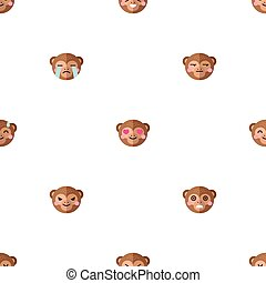 Vector flat cartoon monkey heads with different emotions seamless pattern. Animal emoticons background.