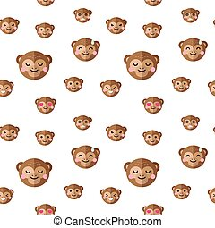 Vector flat cartoon monkey heads with different emotions seamless pattern. Chimp emoticons background.