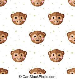 Vector flat cartoon monkey seamless pattern. Chimps background.