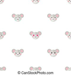 Vector flat cartoon mouse heads with different emotions seamless pattern. Animal emoticons background.