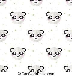 Vector flat cartoon panda heads seamless pattern. Animal background.