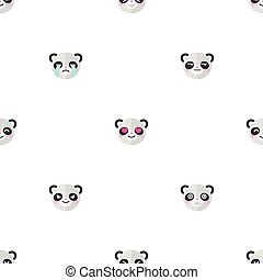 Vector flat cartoon panda heads with different emotions seamless pattern. Animal emoticons background.