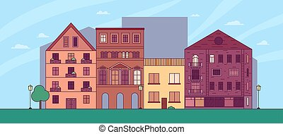 Vector flat cartoon panorama - cityscape with clouds