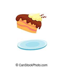 vector flat cartoon piece of cake at plate