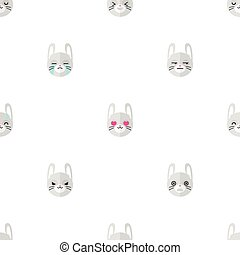 Vector flat cartoon rabbit heads with different emotions seamless pattern. Animal emoticons background.