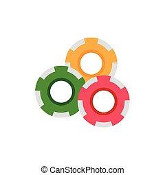 vector flat cartoon red yellow green casino chips