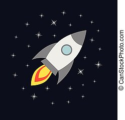 Vector flat cartoon rocket flying in space isolated on background with stars