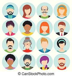 Vector flat cartoon round avatars