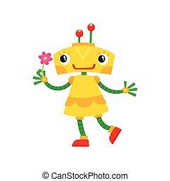 vector flat cartoon small funny girl robot