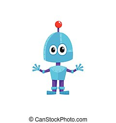 vector flat cartoon small funny male boy robot