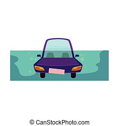vector flat cartoon stylized drowing car.