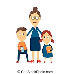 vector flat cartoon teacher and pupils