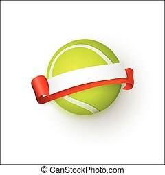 vector flat cartoon tennis ball banner isolated - vector...
